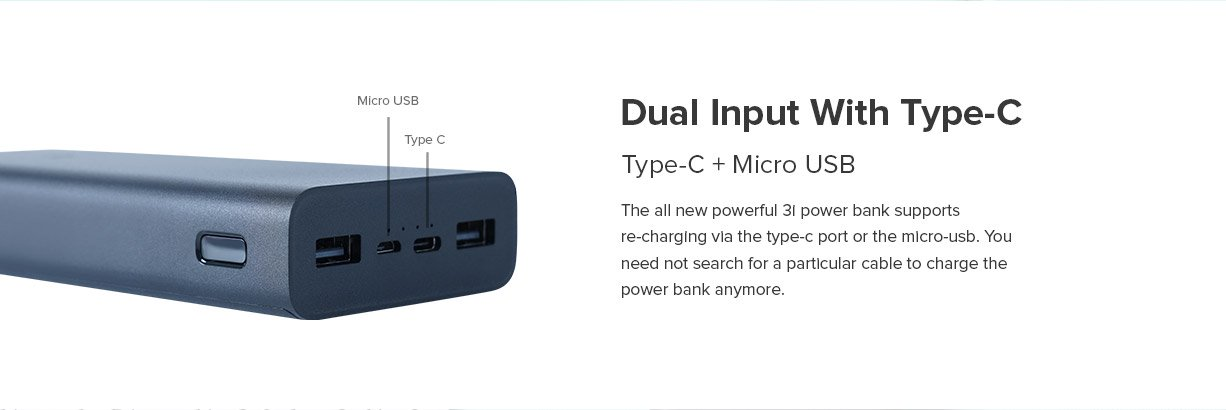 MI 3i 20000 mah powerbank type-c