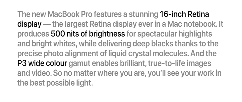 apple macbook pro 16 inch specifications
