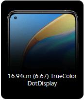 Mi 10T 5G mobile dot display